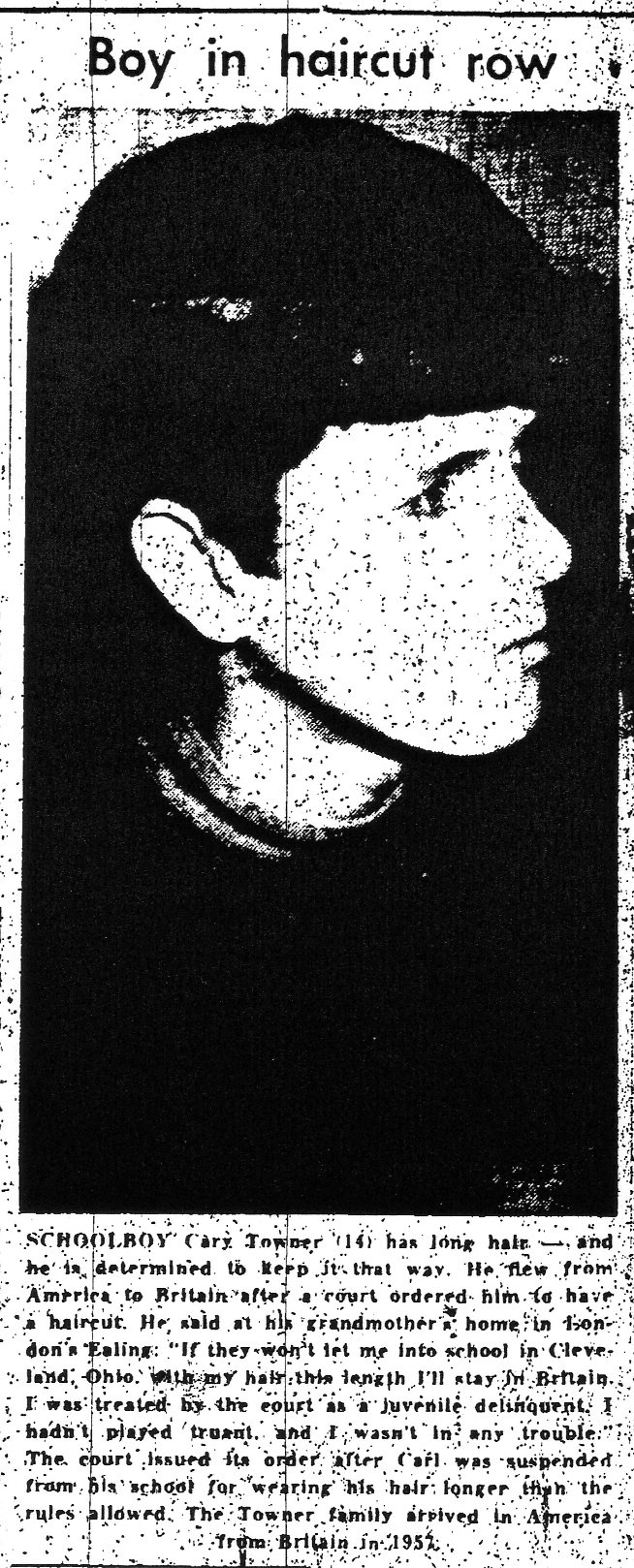 Boy In Haircut Row - Taranaki Herald (29-11-1967)