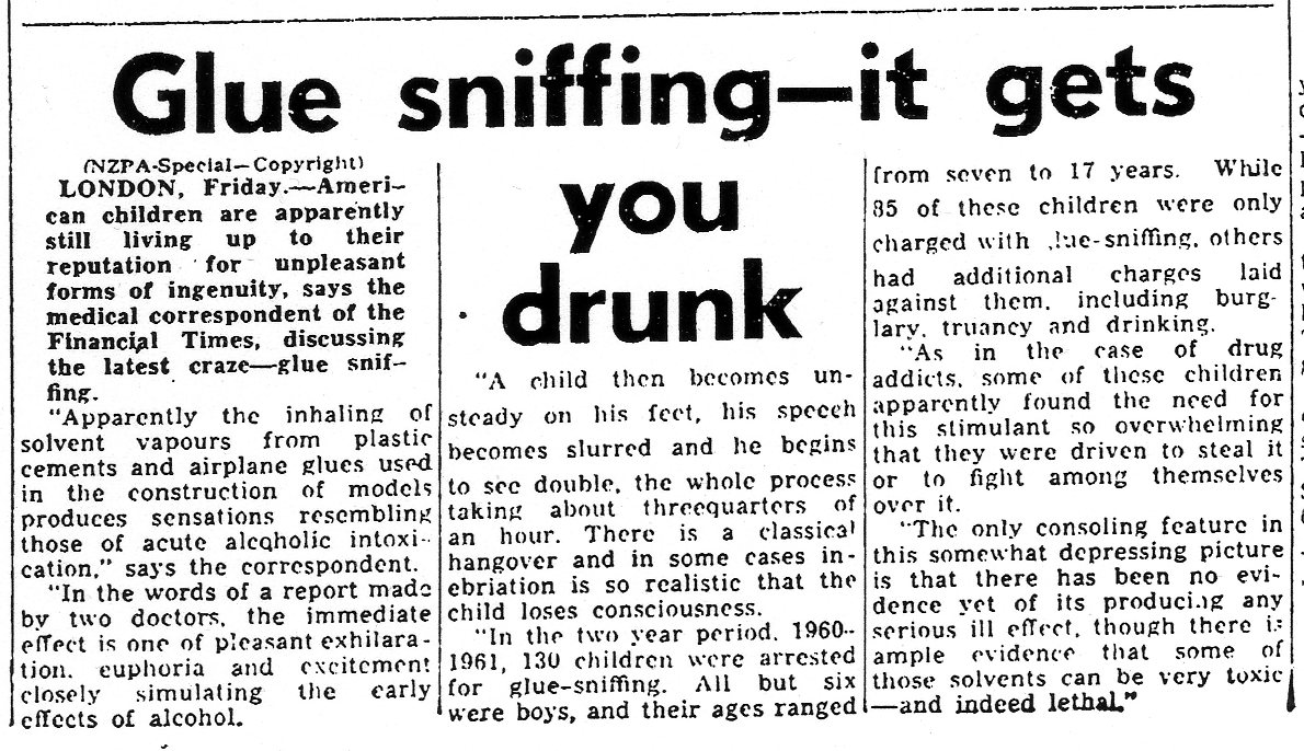 Glue Sniffing - It Gets You Drunk (Taranaki Herald - 25-08-1962)