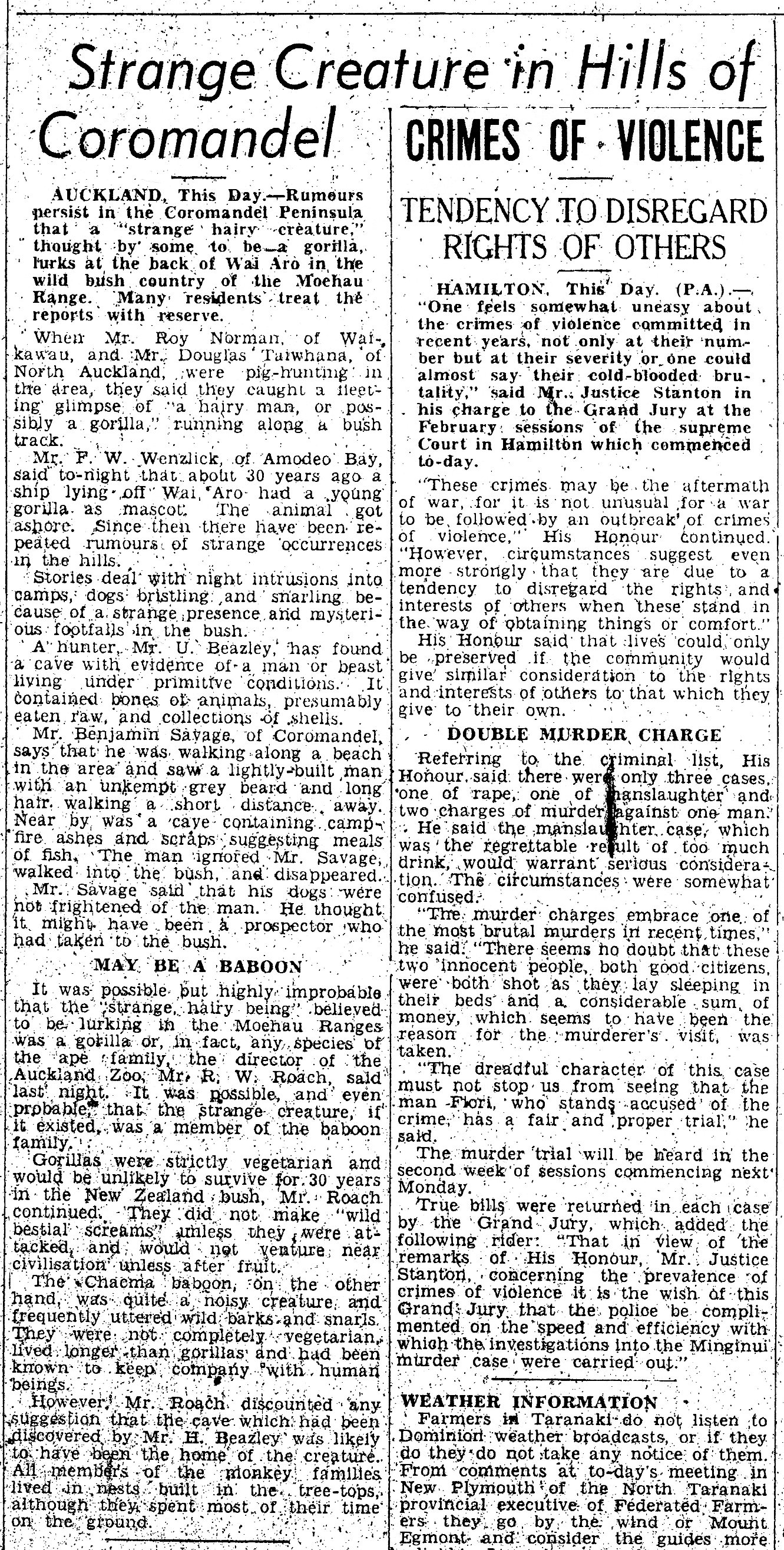 Strange Creatures In The Hills Of Coromandel - Taranki Herald (05-02-1952)
