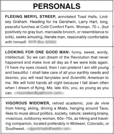 Personals from the New York Review of Books